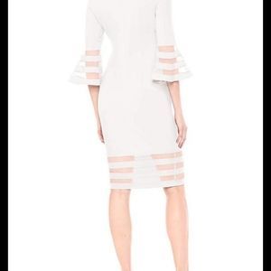 NWT Calvin Klein White Bell Sleeve Sheath dress si